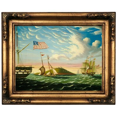 'Boston Harbor' Framed Oil Painting Print on Canvas Format: Dark Copper Framed, Size: 17.25'' H x 21.25'' W x 1.5'' D