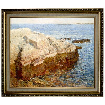 'Cliff Rock Appledore 1903' Framed Oil Painting Print on Canvas Format: Black/Silver Framed, Size: 24.15'' H x 28.15'' W x 1.75'' D