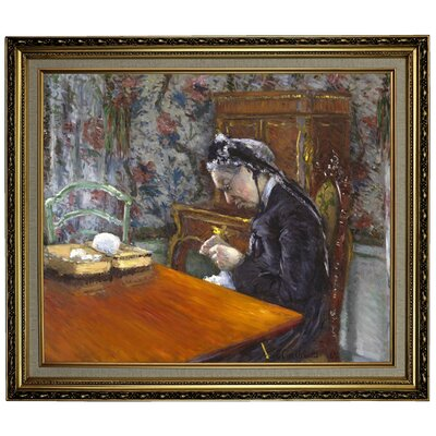 'Mademoiselle Boissiere Knitting 1877' Framed Oil Painting Print on Canvas Format: Light Gold Framed, Size: 24.15