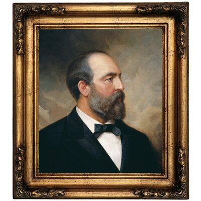 'Portrait of James Garfield; 20th President of the United States 1881' Framed Oil Painting Print on Canvas Format: Gold Framed, Size: 18.5