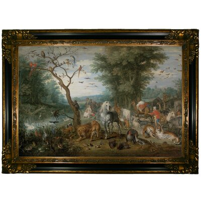 'Paradise Landscape with Animals 1613' Framed Oil Painting Print on Canvas Format: Dark Gold Framed, Size: 24.25