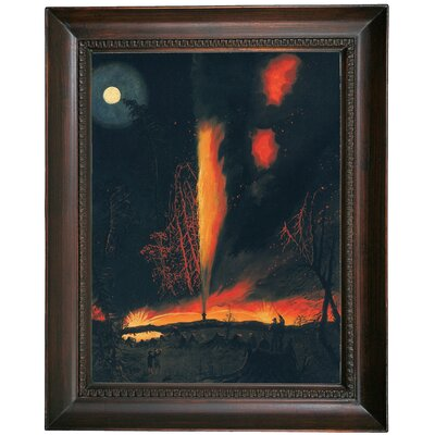 'Burning Oil Well at Nigght' Framed Oil Painting Print on Canvas in Black Frame Size: 19.5