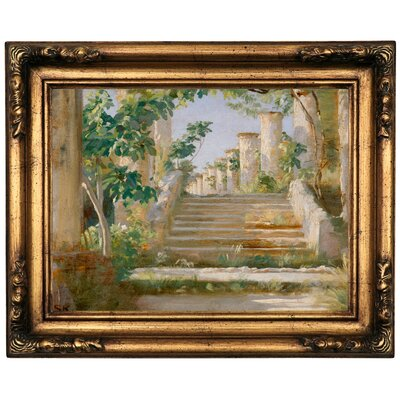 'Loggia' Framed Oil Painting Print on Canvas Format: Gold Frame, Size: 16.5