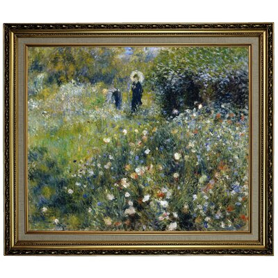 'Woman with a Parasol in a Garden 1875' by Pierre-Auguste Renoir Framed Oil Painting Print on Canvas Format: Yellow Framed, Size: 24.15
