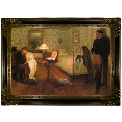 'Interior 1868' by Edgar Degas Framed Oil Painting Print on Canvas Format: Dark Gold Framed, Size: 24.25