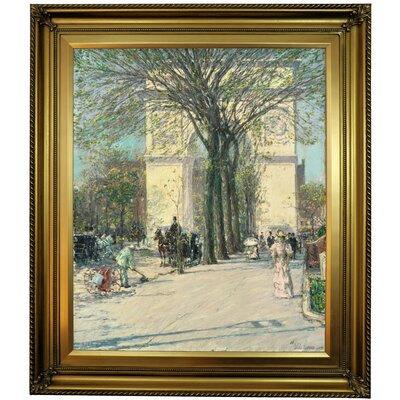 'Washington Arch, Spring 1890' Framed Oil Painting Print on Canvas Format: Golden Brown Framed, Size: 26'' H x 22'' W x 1.5'' D