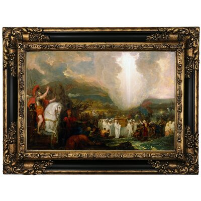 'Joshua passing the River Jordan with the Ark of the Covenant 1800' Framed Oil Painting Print on Canvas Format: Black/Gold Framed, Size: 17.25