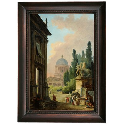 'Imaginary View of Rome with the Horse-Tamer of the Monte Cavallo and a Church 1786' Framed Oil Painting Print on Canvas Format: Dark Brown Framed, Size: 21.5
