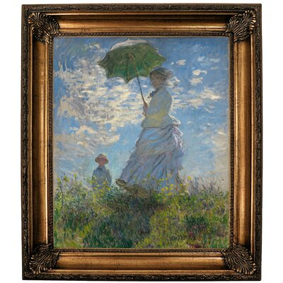 'On the Rock Cliff; Madame Monet and Her Son Jean' Framed Oil Painting Print on Canvas Format: Bronze Framed, Size: 30.25