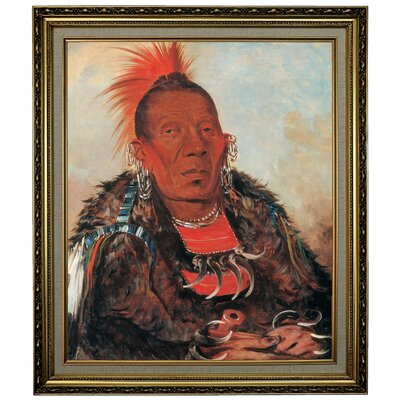 'Wah-ro-noe-sah, the Surrounder, Chief of the Tribe 1832' Framed Oil Painting Print on Canvas Format: Black/Silver Framed, Size: 28.15'' H x 24.15'' W x 1.75'' D