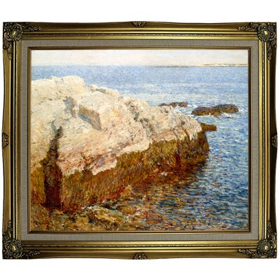 'Cliff Rock Appledore 1903' Framed Oil Painting Print on Canvas Format: Coral Framed, Size: 25.25'' H x 29.25'' W x 1.5'' D