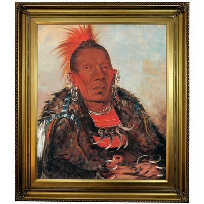 'Wah-ro-noe-sah, the Surrounder, Chief of the Tribe 1832' Framed Oil Painting Print on Canvas Format: Light Bronze Frame, Size: 30'' H x 26'' W x 1.5'' D