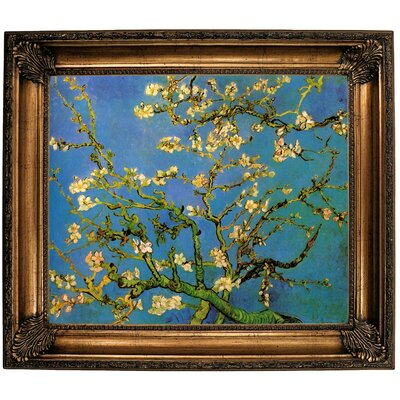 'Blossoming Almond Tree' by Vincent van Gogh Framed Oil Painting Print on Canvas Format: Dark Copper Framed, Size: 22'' H x 26'' W x 1.5'' D