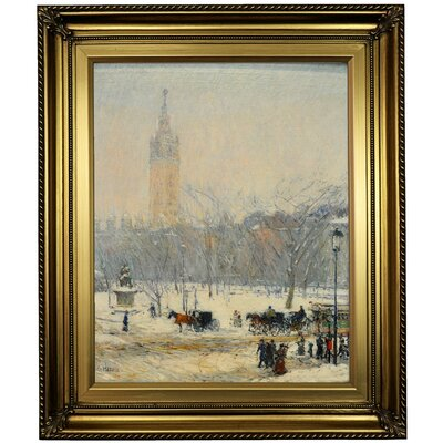 'Snowstorm; Madison Square 1890' Framed Oil Painting Print on Canvas Format: Light Gold Framed, Size: 26