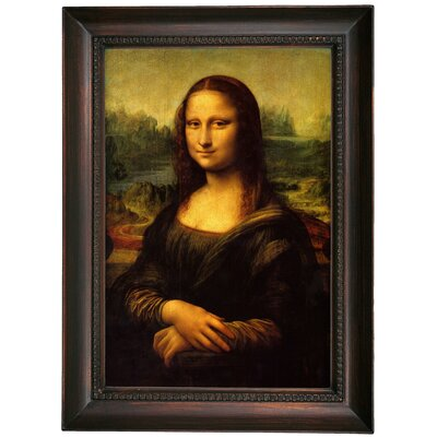 'Mona Lisa' by Leonardo da Vinci Framed Oil Painting Print on Canvas Format: Dark Brown Framed, Size: 21.5