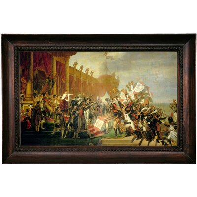 'The Army takes an Oath to Sue Emperor after Sue Distribution of Eagles' Framed Oil Painting Print on Canvas Format: Dark Gray Framed, Size: 15.5