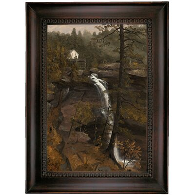 'Kauterskill Falls 1846' Framed Oil Painting Print on Canvas Format: Brown Coffee Framed, Size: 35