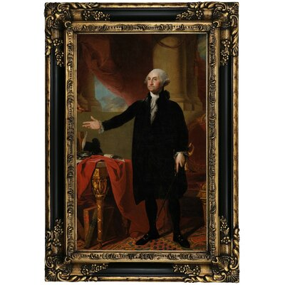 'George Washington Standing - The Lansdowne Portrait 1797' Framed Oil Painting Print on Canvas Format: Black Gold Framed, Size: 25.25