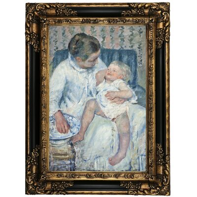 'Mother About to Wash Her Sleepy Child' by Mary Cassatt Framed Oil Painting Print on Canvas Format: Black Framed, Size: 23.25