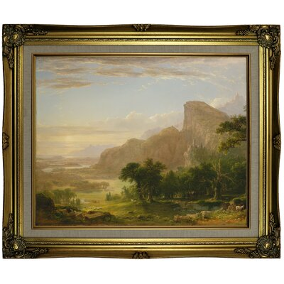 'Landscape Scene from Thanatopsis 1850' Framed Oil Painting Print on Canvas Format: Antique Gold Framed, Size: 21.25