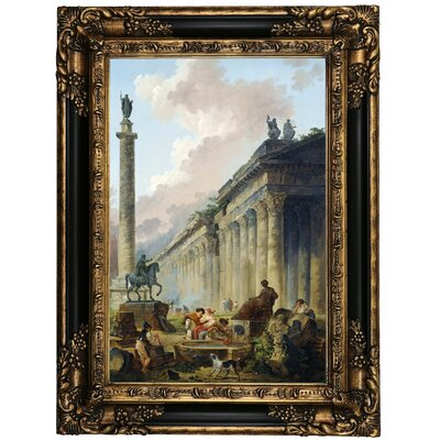 'Imaginary View of Rome with Equestrian Statue of Marcus Aurelius the Column of Trajan and a Temple 1786' Framed Oil Painting Print on Canvas Format: Black Framed, Size: 23.25