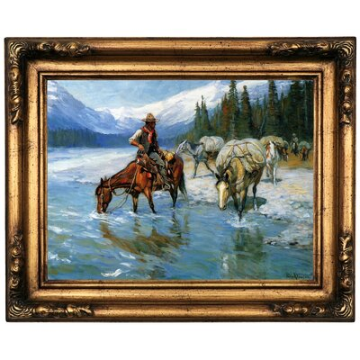 'Bow River Banff' Framed Oil Painting Print on Canvas Format: Black/Gold Framed, Size: 16.5'' H x 20.5'' W x 1.75'' D