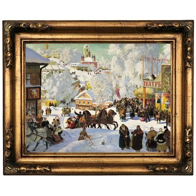 'Maslenitsa 1919 Depicts the Eastern Orthodox holiday Maslenitsa' Framed Oil Painting Print on Canvas Format: Bronze Framed, Size: 16.5