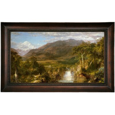 'The Heart of the Andes 1859' Framed Oil Painting Print on Canvas Format: Dark Brown Framed, Size: 15.5