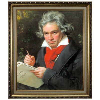 'Portrait of Ludwig van Beethoven When Composing the Missa Solemnis' Framed Oil Painting Print on Canvas Format: Yellow Framed, Size: 28.15
