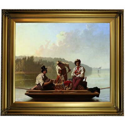 'Boatmen on the Missouri 1846' Framed Oil Painting Print on Canvas Format: Light Bronze Frame, Size: 26'' H x 30'' W x 1.5'' D