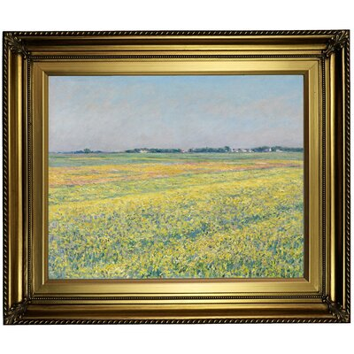 'The Plain of Gennevilliers, Yellow Fields 1884' Framed Oil Painting Print on Canvas in Gold Format: Light Gold Framed, Size: 22