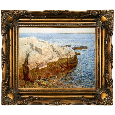 'Cliff Rock Appledore 1903' Framed Oil Painting Print on Canvas Format: Dark Brown Framed, Size: 16.5'' H x 19.5'' W x 2'' D