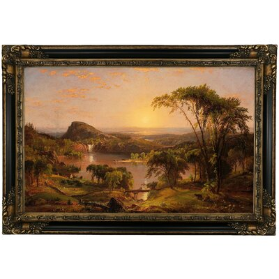 'Summer Lake Ontario 1857' Framed Oil Painting Print on Canvas Format: Black Framed, Size: 24.25