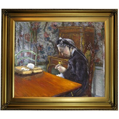 'Mademoiselle Boissiere Knitting 1877' Framed Oil Painting Print on Canvas Format: Yellow Framed, Size: 26