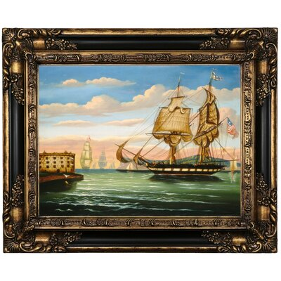 'Bay of New York; Sunset' Framed Print on Canvas Format: Brown/Gold Framed, Size: 17.25