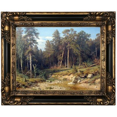 'Pine Forest 1872' Framed Oil Painting Print on Canvas Format: Peru Framed, Size: 17.25