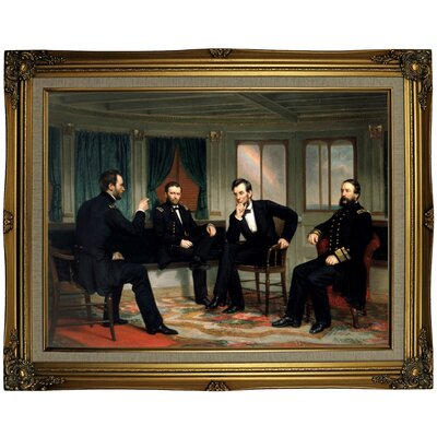 'The Peacemakers 1868 Sherman, Grant, Lincoln and Porter aboard the River Queen March 1865' Framed Oil Painting Print on Canvas in Gold ARGD4860 43590171