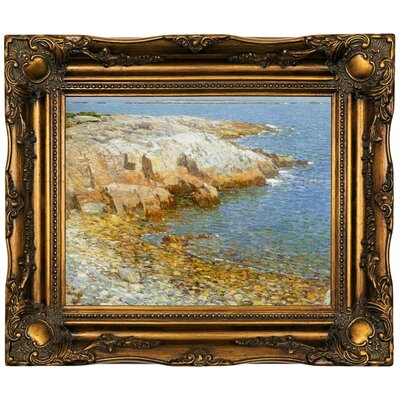 'Isles of Shoals Broad Cove 1911'  Framed Oil Painting Print on Canvas Format: Dark Gold Framed, Size: 16.5