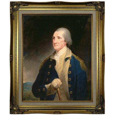 'Portrait of George Washington 1785' Framed Oil Painting Print on Canvas Format: Brown/Gold Framed, Size: 25.25