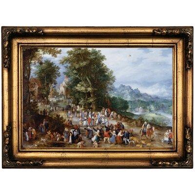 'Flemish Fair 1600' Framed Oil Painting Print on Canvas Format: Antique Gold Framed, Size: 16.5