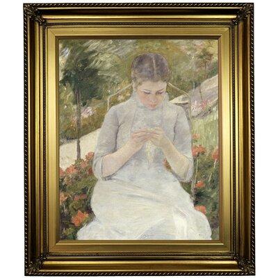 'Girl' Framed Oil Painting Print on Canvas Format: Light Gold Framed, Size: 26