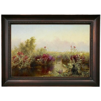 'Duck Hunting 1867' Framed Oil Painting Print on Canvas Format: Dark Brown Framed, Size: 15.5