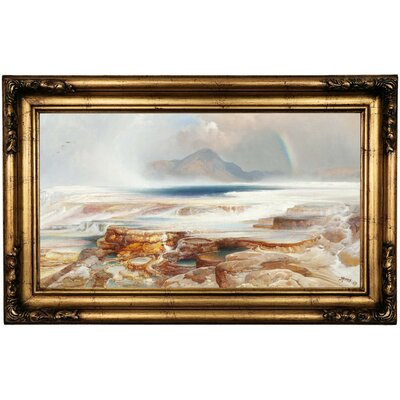 'Hot Springs of the Yellowstone' Framed Oil Painting Print on Canvas Format: Antique Gold Framed, Size: 16.5