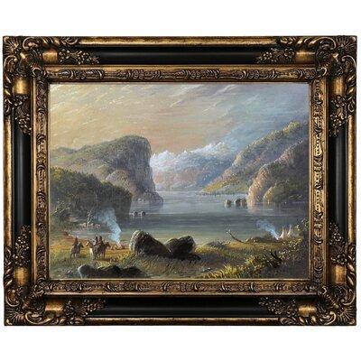 'Lake Scene 1858' Framed Oil Painting Print on Canvas Format: Black/Bronze Framed, Size: 17.25