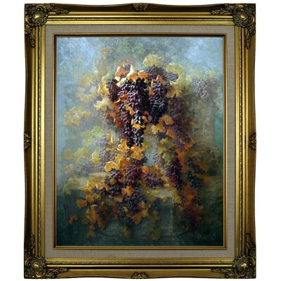 'Grapes and Architecture 1907'  Framed Oil Painting Print on Canvas Format: Brown/Gold Framed, Size: 25.25