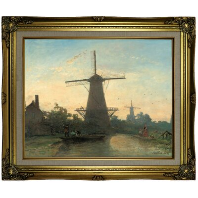 'Mills near Rotterdam 1857' Framed Oil Painting Print on Canvas Format: Brown/Gold Framed, Size: 21.25