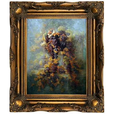 'Grapes and Architecture 1907'  Framed Oil Painting Print on Canvas Format: Dark Gold Framed, Size: 19.5