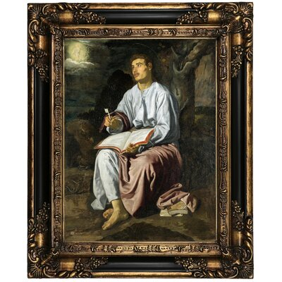 'John the Evangelist from Patmos 1619' Framed Oil Painting Print on Canvas Format: Black/Bronze Framed, Size: 21.25
