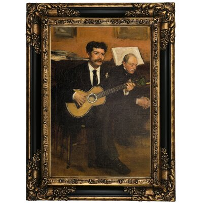 'Lorenzo Pagans and Auguste de Gas 1871' by Edgar Degas Framed Oil Painting Print on Canvas Format: Black/Gold Framed, Size: 23.25