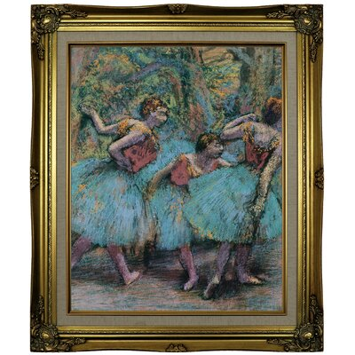 'Three Dancers (Blue Tutus; Red Bodices) 1903' Framed Oil Painting Print on Canvas Format: Brown/Gold Framed, Size: 25.25
